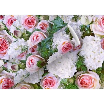 Braun & Company Geschenkpapier, lux; 70 cm x 2 m; Fotomotiv: Blumen (Rosen); weiß-rosé-grün; 16440; Offsetpapier, glatt