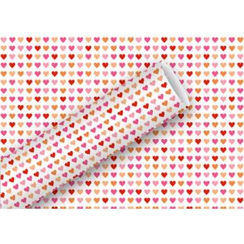 Braun & Company Geschenkpapier, lux; 70 cm x 2 m; Heart to Heart: Herzchen; rot-rosa-gold auf weiß; 17415; Offsetpapier, glatt