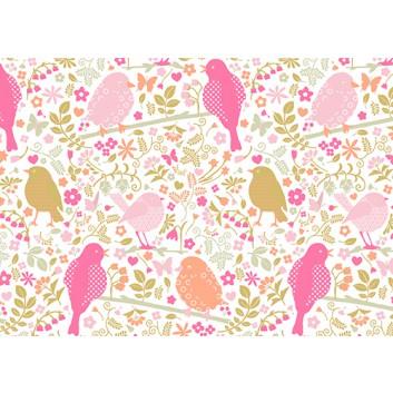 Braun & Company Geschenkpapier, lux; 70 cm x 2 m; Sweet paradise (Vögel); rosé; 17422; Offsetpapier, glatt; Röllchen auf Papphülse (34 mm Ø)