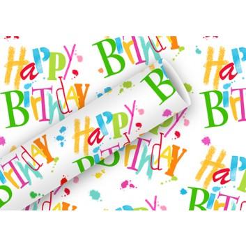Braun & Company Geschenkpapier, lux; 70 cm x 2 m; Schrift: Happy Birthday; bunt auf weiß; 17429; Offsetpapier, glatt