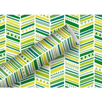 Braun & Company Geschenkpapier, lux; 70 cm x 2 m; Grafikmuster: Ethno Stripes; Grüntöne; 18412; Offsetpapier, glatt