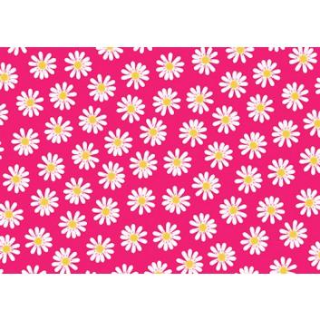 Braun & Company Geschenkpapier, lux; 70 cm x 2 m; Dancing daisies (Blumen); weiß auf pink; 19427; Offsetpapier, glatt