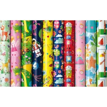 Geschenkpapier; 70 cm x 2 m; Bambini - Premium; verschiedene Motive / Farben, sortiert; Kraftpapier, glatt - gestrichen; Röllchen auf Papphülse