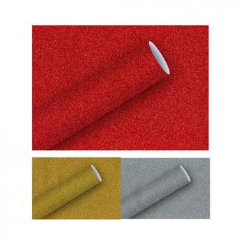 Braun & Company Geschenkpapier, Glimmer; 70 cm x 1,5 m; uni; gold / silber / rot; Glimmerpapier, Rückseite glatt weiß