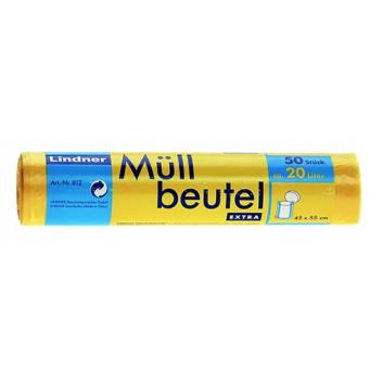 Lindner Müllsack; 20 Liter; gelb; HDPE, extrastark; 45 x 55 cm; Breite x Höhe; Rolle a 50 Säcke