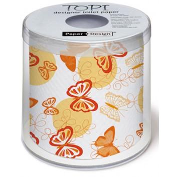 Paper + Design Toilettenpapier mit Design; Farfalle; 00193; 200 Blatt/Rolle; 3-lagig, Zelltuch; Einzel verpackt in Geschenkklarsichtbox.
