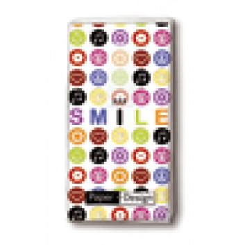 Paper + Design Taschentücher mit Design; Smile; 01298; 22 x 21 cm; 1/8 gefalzt auf 11 x 5,5 cm; 4-lagig, Zelltuch; chlorfrei gebleicht