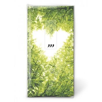 Paper + Design Taschentücher mit Design; Nature Love: Herz im Blätterwald; 195090; 22 x 21 cm; 1/8 gefalzt auf 11 x 5,5 cm