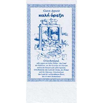 Duni Servietten; 40 x 40 cm; Griechenland; blau auf weiß; 2-lagig; 1/8-Falz (länglich); Zelltuch