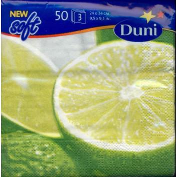Duni Servietten 50er-Pack; 24 x 24 cm; Limette; grün; 3-lagig; 1/4-Falz (quadratisch); Zelltuch