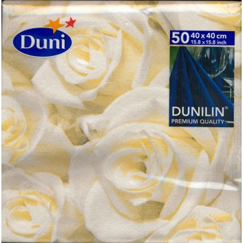 Duni Servietten; 40 x 40 cm; White dreams; weiß-champagner; Dunisoft- mit Textil-Charakter; 1/4-Falz (quadratisch); Vlies