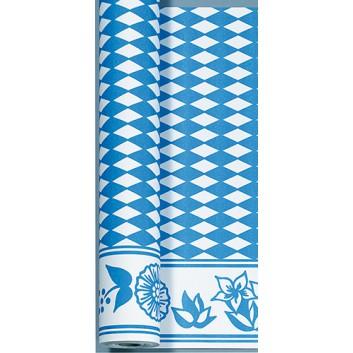 Duni Tischtuch-Rolle; 118 cm x 10 m; Bayrisch Raute mit Rankenrand; weiß-blau; 186657; Dunicel: saugfähig, reißfest; Breite x Länge