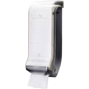 TORK Maxi-Spender für Interfold-Servietten; 20 x 57 x 34 cm; grau mit Sichtfenster; für Interfold-Servietten # 251840; Kunststoff