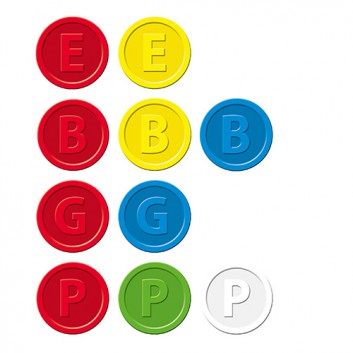 Sigel Wertmarkenn; verschiedene Texte; verschiedene Farben; Kunststoff; Ø 25 mm