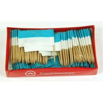 Partypicker, Holz; Fähnchen; blau-weiß; 70 mm; Holz; in Klarsichtbox