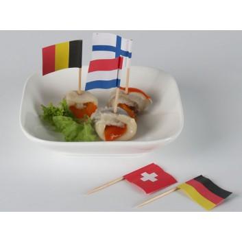 Kögler Partypicker, Holz; 8 Nationen; sortiert; 70 mm; Holz; in Klarsichtbox; Germany,France,Italy,CH,GB,NL,USA,Europa