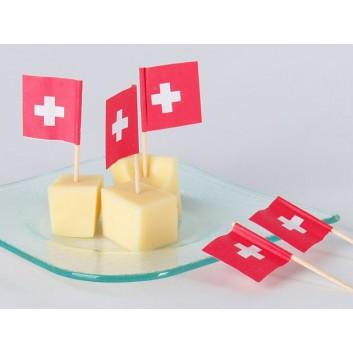 Kögler Partypicker, Holz; Schweiz; rot-weiß; 70 mm; Holz; in Klarsichtbox