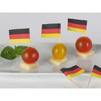 Kögler Partypicker, Holz; Deutschland; schwarz-rot-gelb: waagrecht; 70 mm; Holz; in Klarsichtbox