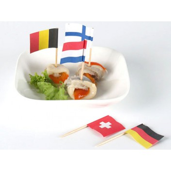 Kögler Partypicker, Flaggen - 250er-Pack; Flaggen, diverse Länder; diverse; 70 mm; Holz; in Klarsichtbox