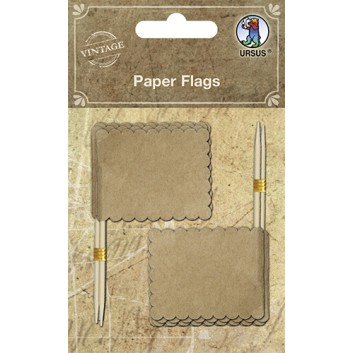 Ursus Partypicker/Dekopicker 10er-Pack; Fahne neutral unbedruckt; braun; 80 mm; Holz; im SB-Pack; dekorativer Wellenrand