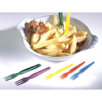Kunststoff-Pommesgabeln; 7,7 cm; farbig sortiert; Plastik; in Beutel verpackt