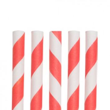 Kögler Papier-Trinkhalme mit Motiv 100er-Pack; Streifen; rot-weiß; 197 mm; 6 mm; Papier, starr; lose, ungehüllt, lebensmittelecht; in Klarsichtbox
