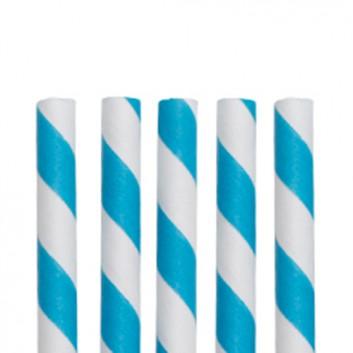 NatureStar Papier-Trinkhalme mit Motiv 100er-Pack; Streifen; blau-weiß; 197 mm; 6 mm; Papier, starr; lose, ungehüllt, lebensmittelecht