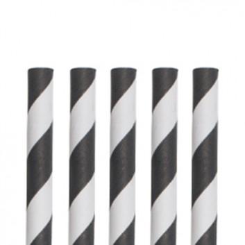 Kögler Papier-Trinkhalme mit Motiv 100er-Pack; Streifen; schwarz-weiß; 197 mm; 6 mm; Papier, starr; lose, ungehüllt, lebensmittelecht