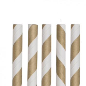 Kögler Papier-Trinkhalme mit Motiv 100er-Pack; Streifen; gold-weiß; 197 mm; 6 mm; Papier, starr; lose, ungehüllt, lebensmittelecht; in Klarsichtbox