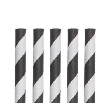 Kögler Papier-Jumbohalme; Streifen; schwarz-weiß; 280 mm; 8 mm; Papier, starr; lose, ungehüllt, lebensmittelecht; in Klarsichtbox