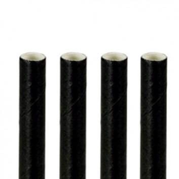 Kögler Papier-Cocktailhalme; uni; schwarz; 150 mm; 8 mm; Papier, starr; lose, ungehüllt, lebensmittelecht; Beutel; wasserfest (zeitlich begrenzt)