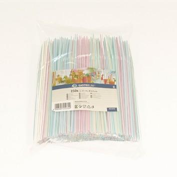 Kögler Flexhalme, farbig-sortiert 250er-Pack; Standard, uni; weiß mit Streifen farbig; 210 mm; 5 mm; Trinkhalme, flexibel; lose