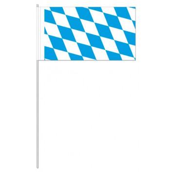 Fahnen mit Ländermotiven; bayerisch Raute; weiß-blau; 12 x 24 cm inkl. Kleberand; 100 g/m² Papier, weiß-matt gestrichen