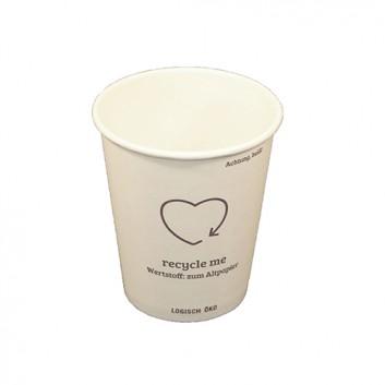 Becher Coffee-to-go, weiß, unbedruckt; 200 ml / 300 ml; weiß, unbedruckt; Hartpapier, innen PE-beschichtet; Neue Version: ohne Eichstrich