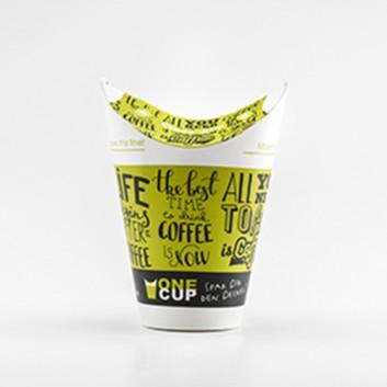 egepack One-Cup,Bio der andere Kaffeebecher; M = 300 ml / 12 oz - Double-Wall; grün, Kaffeedessin; Hartpapier 300+230g/qm + Bio-PBS 18my