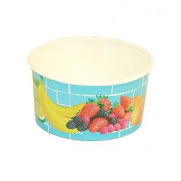 Eisbecher; 160 ml (Randvolumen); Früchtemotiv, hellblau-bunt; Hartpapier, innen PE-beschichtet; Rundbecher; DU oben: 85 mm / Höhe: 43 mm