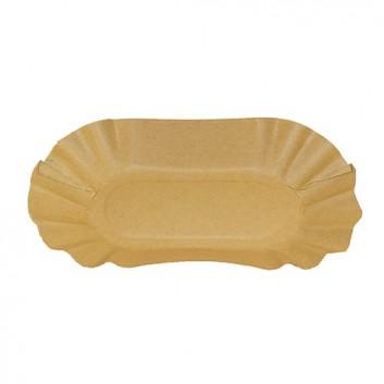 Hosti-Pfiffkuss Pappschale mit Fettbarriere; 11 x 19,5 x 3,2 cm; braun; Kraftkarton FSC-Mix mit Fettbarriere; Oval; z.B. Pommes, Currywurst