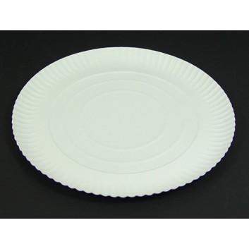 Hosti-Pfiffkuss Pappteller mit 3 cm Hochrand; DU: 30 cm; 3 cm tief; weiß; Hartpapier; recyclebar; Rund; trockene und nicht für fettende Lebensmi