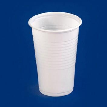 Plastikbecher; 200 ml; weiß; PP = Polypropylen, recycelbar; DU oben: 65 mm / Höhe: 95 mm