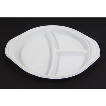 Plastik-Menüteller; 24 cm; 3-geteilt; weiß; Polystyrol; Rund, mit Griffrand