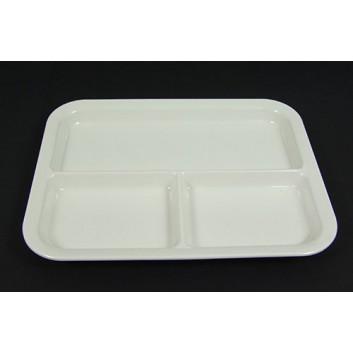 Melamin-Mehrwegteller, 3-geteilt; 280 x 220 mm; weiß; Melamin; Rechteckig; 3-geteilt; Hauptgerichte