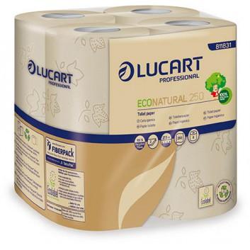 Toilettenpapier, Econatural; 2-lagig; naturbeige; 250 Blatt; 100 % Recycling aus Getränkekarton; Ecolabel;FSC; 9,6 x 11 cm; Blumenprägung