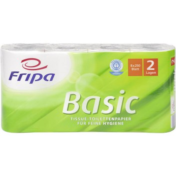 fripa Toilettenpapier, Basic; 2-lagig; weiß; 250 Blatt; 100 % Recycling; Blauer Engel