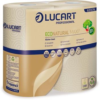 Küchenrolle, MAXI  -EcoNatural-; 2-lagig; naturbraun, geprägt; 150 Tücher (3x mehr als andere); 100% Recycling aus Getränkekartons