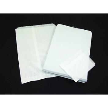 Papier-Flachbeutel - Zackenrand; diverse Formate; weiß; Zackenrand - lose oder gefädelt; Zellulose, glatt; Breite x Höhe; Einnahtflachbeutel