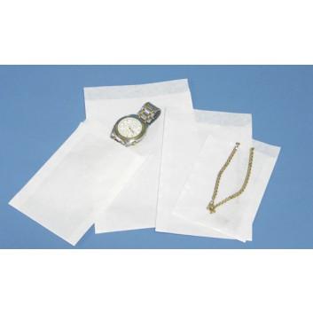 Papier-Flachbeutel; 95 x 130 mm; weiß; Klappe ca. 20 mm; Kraftpapier gebleicht glatt ca. 50 g/qm; Breite x Höhe; Zweinahtflachbeutel