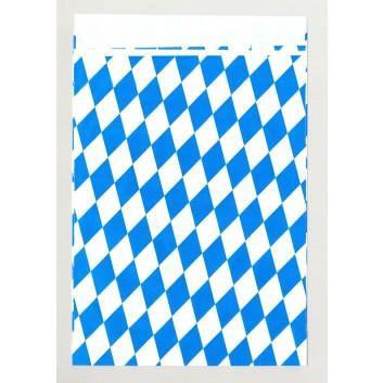 Präsent-Flachbeutel aus Papier; ca. 13,0 x 18 cm; Bayerisch Raute; weiß-blau; ca. 20 mm; Offset, glatt; ca. 90 g/qm; mit Klappe; Breite x Höhe