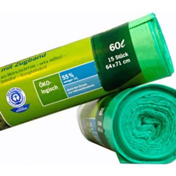 Secolan Müllsack mit Zugband - Blauer Engel; 60 Liter; grün; 100% recyceltes LDPE, flüssigkeitsdicht; 64 x 71 cm; Breite x Höhe; Rolle a 15 Säcke