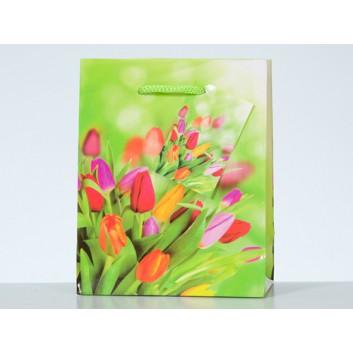 Präsent-Tragetasche mit Kordel; 11 + 6 x 13,5 cm; Tulpen; bunt; mit Kordel; Lackpapier; 128 g/qm; Breite + Boden-/Seitenfalte x Höhe