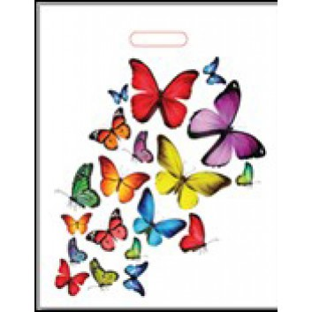 Plastik-Tragetaschen, Design; 37 + 4 x 44 cm; Schmetterlinge; bunt auf weiß; ca. 45 my; LDPE; verstärktes Griffloch; Breite + Bodenfalte x Höhe
